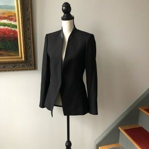 New Club Monaco open front leather trim blazer 6